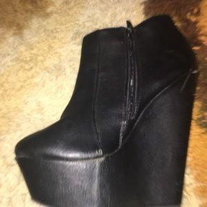 Shoes - Truffle black platform wedges